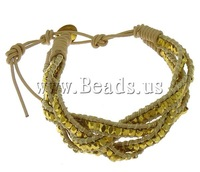Free shipping!!!Wrap Bracelet,tibetan, Cowhide, brass clasp, gold color plated, 4-strand, nickel, lead & cadmium free, 3x3mm
