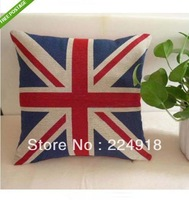 Soft Jack Union UK Linen Pillow Case British Flag Cushion Cover Square 45cm Red