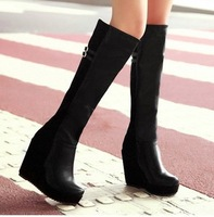 Free Shipping Newwst  fashion women knee high boots wedges can retail/wholesale Euro Size 34-39, N381523x130