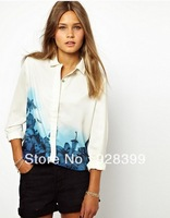 Free shipping Spring 2014 new European style brand printing gradual long-sleeved blouse S, M, L
