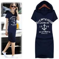 2014 women's summer autumn short-sleeve dress with a hood one-piece dress plus size S to XXXXL casual basic 100% cotton