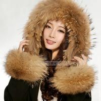Raccoon fur thermal real fur sleeves fur cuff fox fur wrist support warm gloves