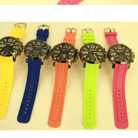 Free shipping New arrival candy color personality big dial casual sports women's watch electronic watch jelly table
