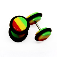 6 pair of 0g look Rainbow Striped Fake Cheater Ear Plug Earring UV Acrylic With O'Rings