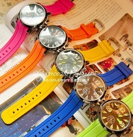 Free shipping Candy color personality big dial casual sports women's watch electronic watch