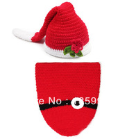 2pcs/set hand crochet knit christmas beanis hats caps baby newborn boy girl photography props costume set for 0-6 months