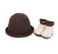 Handmade Crochet Baby Coffee Beanies Hats Caps,Beige Shoes Toddlers Newborn Girl Photography Props Costume Set For  0-24 Months