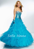Charming long ball gown sweetheart corset with crystals ruffled turquoise organza evening graduation party prom dresses 2014