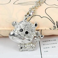 (Min order $10 ) XS0069 South Korea long punk style jewelry small cow  lovely long sweater chain necklace free shipping