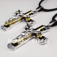 Hot Sale 6pcs Lovers 316L Titanium Stainless Steel Women Mens Costume Silver Gold Jesus Cross Necklaces Wholesale Jewelry A-879