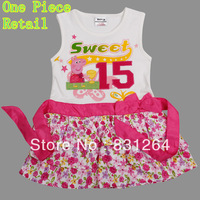 One Piece Retail ! Peppa pig girl's dress baby girls pepe pig dresses children Fashion clothing Kids girls cartoon