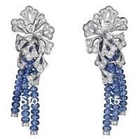 Derongems_Fine Jewelry_Customized Luxury Rubellite Flower Party Tassel Earrings_S925 Solid Silver Earrings_Factory Directly Sale