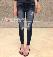 Eagle new show thin dark pencil pants tight hole and feet stretch JEGGING when nine minutes of pants