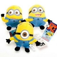 "3PCS Despicable ME Movie Plush Toy 6"" Minion Jorge Stewart Dave NWT with tags"