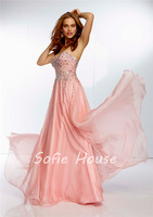 Newest long a line sweetheart with crystals and beads pink chiffon evening gown graduation party prom dresses 2014