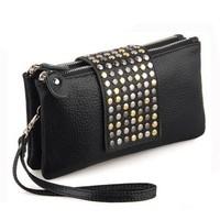 Free Shipping 2013 Simple Fashion PU Leather Handbag Rivet Lady Clutch Purse Wallet Evening Bag