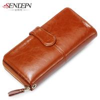 Vintage wax cowhide wallet female long women's design genuine leather wallet zipper clutch female wallet