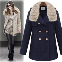 Fashion women's 2013 british style woolen outerwear double breasted rabbit fur woolen overcoat