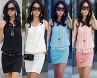 Hot Sale Women's Chiffon Dress Crew Neck Sleeveless Causal Tunic Sundress Free Shipping A500