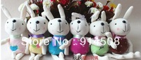 12cm length   12 pieces    6 colors mixed lovely rabbit plush toys Promotional wedding gift phone accessories