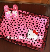 C4 size 70x50cm Lace dot polka Hello kitty  coral velvet Carpets for Bedroom