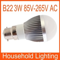 3W White/Warm WhIte B22 Dimmable Globe LED Bulb Light Lamp AC 85-265V Free Shipping 82091 82092