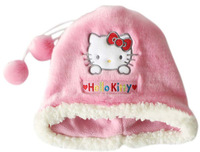 Cute Hello Kitty Plush Hat Warm Pink Hat for Girls