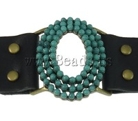 Free shipping!!!Leather Cord Bracelet,Jewelry 2013 Fashion, Zinc Alloy, with Leather & Turquoise, zinc alloy snap clasp, Watch