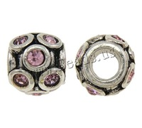 Free shipping!!!Zinc Alloy European Beads,Vintage, Drum, antique silver color plated, without troll & with rhinestone, nickel