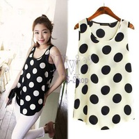 Womens Summer Casual Polka Dots Vest Tank Tops Chiffon Blouse Primer Shirt Black White Free shipping 13854 blusa camisa