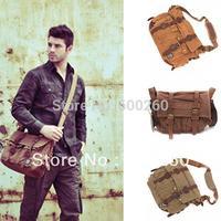 Men's Vintage Canvas Leather School Military Shoulder Bag Messenger Bag free shipping