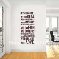 Free shipping 1 X Removable Vinyl Wall Stickers Home Decal Wall Decor Houese Rule Sz 23.5*59inch