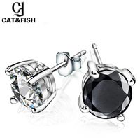 Cat fish stud earring tremellales 925 pure accessories anti-allergic male female lovers stud earring single fashion