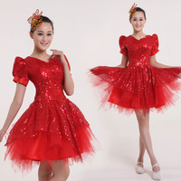 Elegant national dance one piece skirts short design modern dance costume clothes women's  free shipping