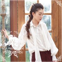 Dear chinkapin vintage fashion vintage lantern sleeve bow bandage classical shirt