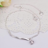 New Arrival!! Wholesale Insets Small Bar Hanging Single Zircon Anklets 925 Silver Fashion Jewelry Personality Gift A012