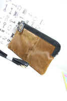 2013 autumn and winter horsehair patchwork color block envelope bag genuine leather female clutch day clutch shoulder bag