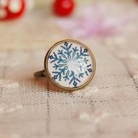 Min Order $18(Can Mix Item)Women Girl Fashion Vintage Snow Flake Design Ring New