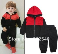 2013 Autumn Children Set Baby Red Black Patchwork Hooded Long Sleeve Coat And Pants Set Kids Clothing 5 SET