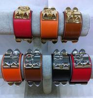 High Quality 3.8cm Width Genuine Leather Plain Grain Gold Plated 316L Stainless Steel Rivet Punk Bangle Bracelet