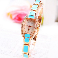 2014 new  free shipping Brand casual Rhinestone Crystal Square women girl bracelet watch quartz watches fashion gift LW129