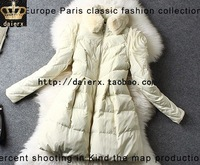Daierx winter rex rabbit hair thickening turn-down collar white duck down slim small female medium-long down coat