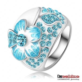 Hot Fashion Enamel Jewelry Genuine SWA Elements Ring Real Platinum Plated Blue Austrian ...