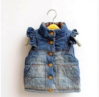 1 PC Free shipping NEW Fashion Children Kids Denim Vest Girls two Side Waistcoat Autumn Spring Wear TT199