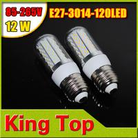 2014 NEW High Quality Max 12W 85-265V 110V E27 120LEDs SMD3014 Led Corn Bulb Cree Chips lamp White/Warm White Lighting 5pcs/lot