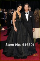 Camila Alves Spaghetti Strap Deep V-neck Floor Length Black Taffeta Celebrity Dress Lady Dress