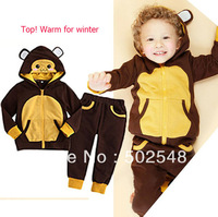2013 Winter TOP! Children Warm Set Baby Girls Boys Bear Design Thick Hooded Long Sleeve Coat And Pants Set Kids Clothing 5 SET