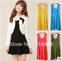 Women's dress modal wild bottoming pleated sundress vest-style dress Free multicolor