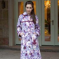 Print short plush thickening medium-long cotton-padded women's robe winter thermal home bathrobes 7109