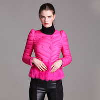 2013 winter short design female down coat slim fur rabbit fur patchwork women's long-sleeve thin down coat